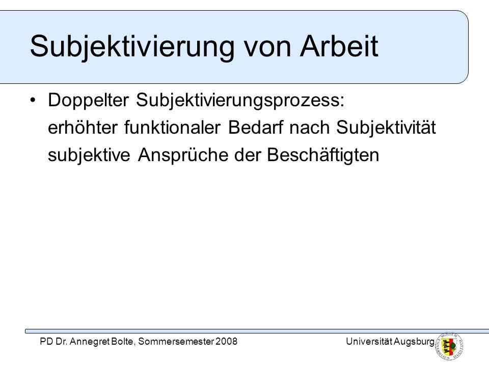 Universität AugsburgPD Dr. Annegret Bolte, Sommersemester 2008 Subjektivierung von Arbeit Doppelter Subjektivierungsprozess: erhöhter funktionaler Bed