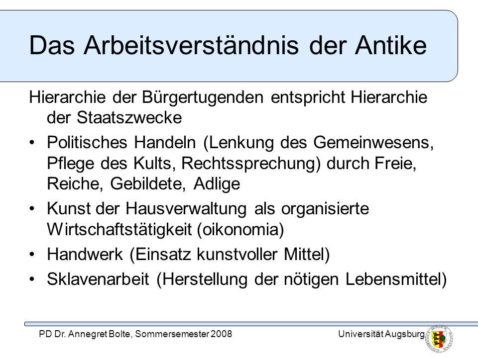 Universität AugsburgPD Dr. Annegret Bolte, Sommersemester 2008 Das Arbeitsverständnis der Antike Hierarchie der Bürgertugenden entspricht Hierarchie d