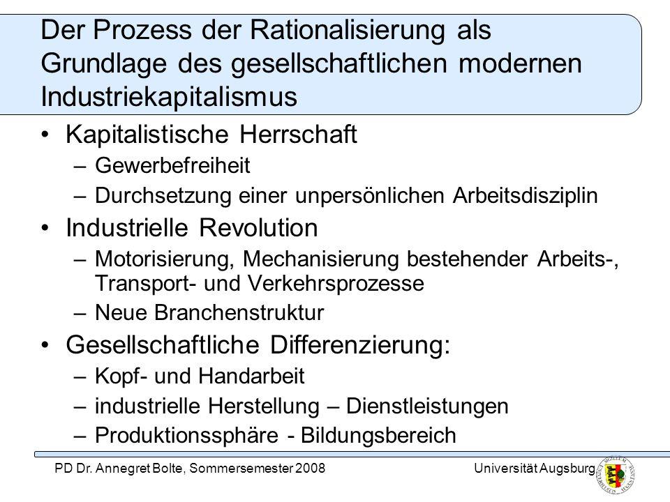 Universität AugsburgPD Dr. Annegret Bolte, Sommersemester 2008 Der Prozess der Rationalisierung als Grundlage des gesellschaftlichen modernen Industri