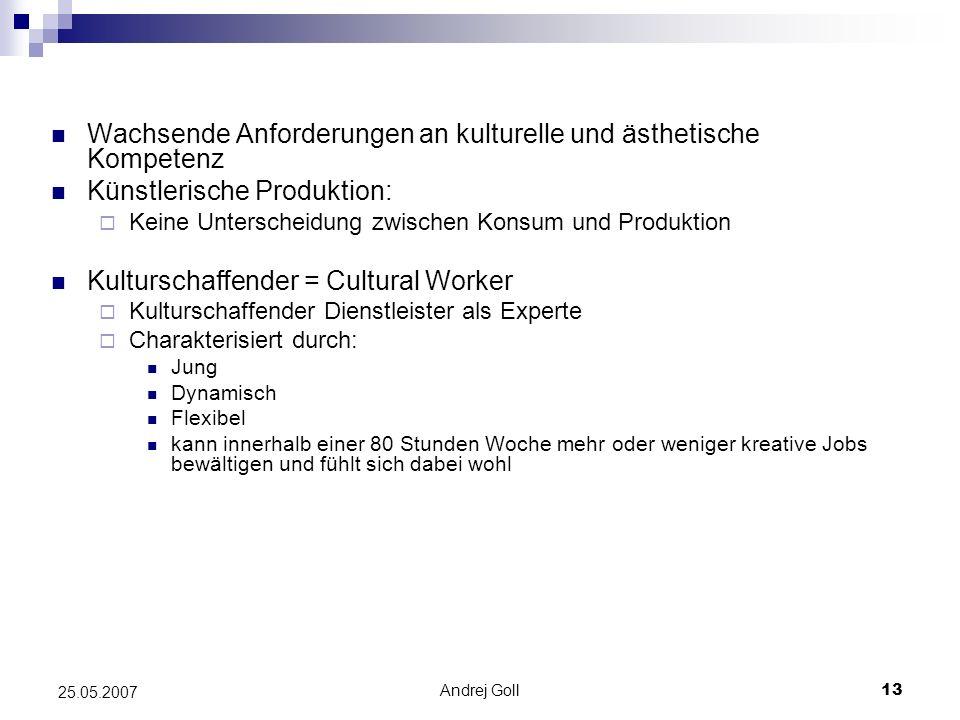 Andrej Goll13 25.05.2007 Wachsende Anforderungen an kulturelle und ästhetische Kompetenz Künstlerische Produktion: Keine Unterscheidung zwischen Konsu