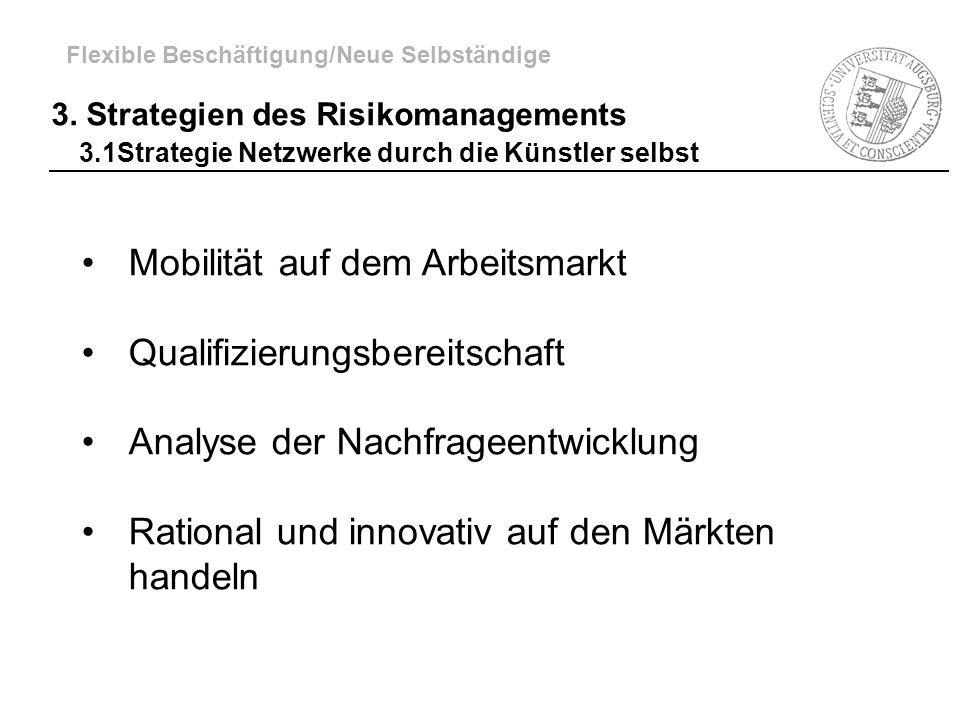 Mobilität auf dem Arbeitsmarkt Qualifizierungsbereitschaft Analyse der Nachfrageentwicklung Rational und innovativ auf den Märkten handeln Flexible Be