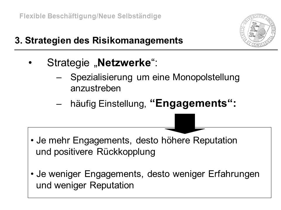 3. Strategien des Risikomanagements Strategie Netzwerke: –Spezialisierung um eine Monopolstellung anzustreben –häufig Einstellung, Engagements: Je meh