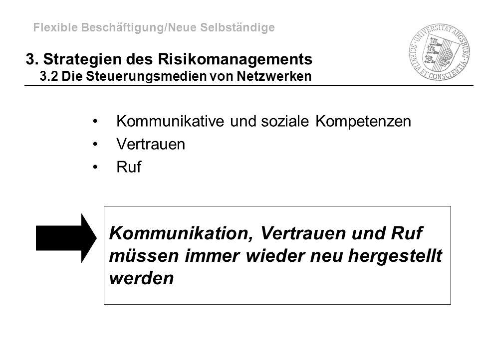 3. Strategien des Risikomanagements 3.2 Die Steuerungsmedien von Netzwerken Kommunikative und soziale Kompetenzen Vertrauen Ruf Kommunikation, Vertrau