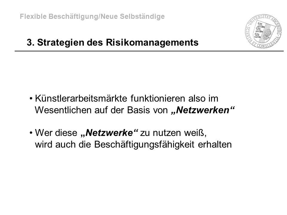 3. Strategien des Risikomanagements Künstlerarbeitsmärkte funktionieren also im Wesentlichen auf der Basis von Netzwerken Wer diese Netzwerke zu nutze