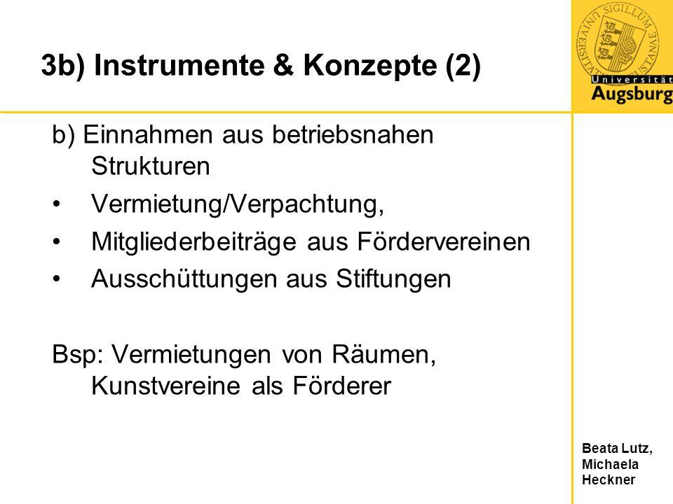 Beata Lutz, Michaela Heckner 3b) Instrumente & Konzepte (2) b) Einnahmen aus betriebsnahen Strukturen Vermietung/Verpachtung, Mitgliederbeiträge aus F