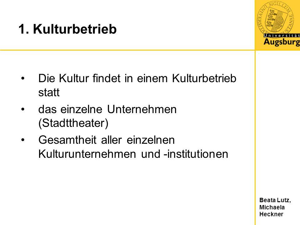 Beata Lutz, Michaela Heckner 1. Kulturbetrieb Die Kultur findet in einem Kulturbetrieb statt das einzelne Unternehmen (Stadttheater) Gesamtheit aller