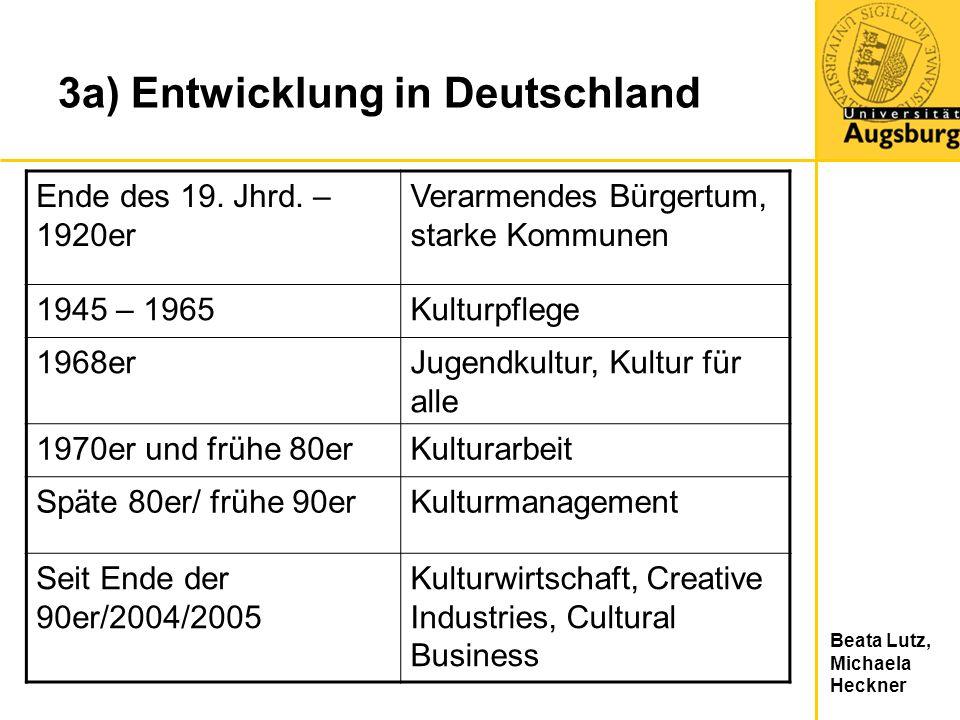Beata Lutz, Michaela Heckner 3a) Entwicklung in Deutschland Ende des 19. Jhrd. – 1920er Verarmendes Bürgertum, starke Kommunen 1945 – 1965Kulturpflege