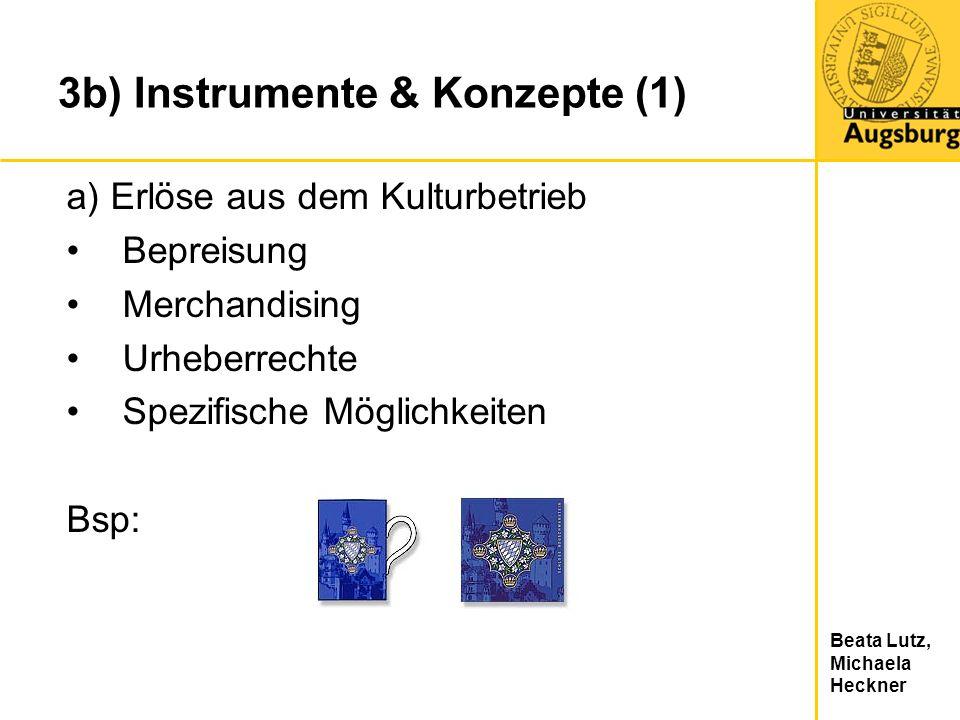 Beata Lutz, Michaela Heckner 3b) Instrumente & Konzepte (1) a) Erlöse aus dem Kulturbetrieb Bepreisung Merchandising Urheberrechte Spezifische Möglich