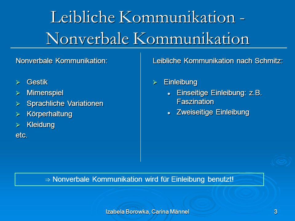 Izabela Borowka, Carina Männel3 Leibliche Kommunikation - Nonverbale Kommunikation Leibliche Kommunikation nach Schmitz: Einleibung Einleibung Einseit