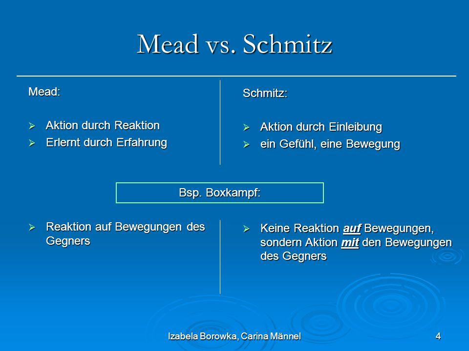 Izabela Borowka, Carina Männel4 Mead vs. Schmitz Mead: Aktion durch Reaktion Aktion durch Reaktion Erlernt durch Erfahrung Erlernt durch Erfahrung Rea