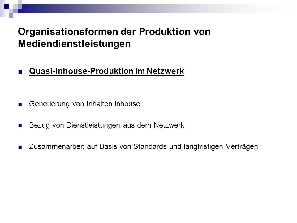 Organisationsformen der Produktion von Mediendienstleistungen Quasi-Inhouse-Produktion im Netzwerk Generierung von Inhalten inhouse Bezug von Dienstle