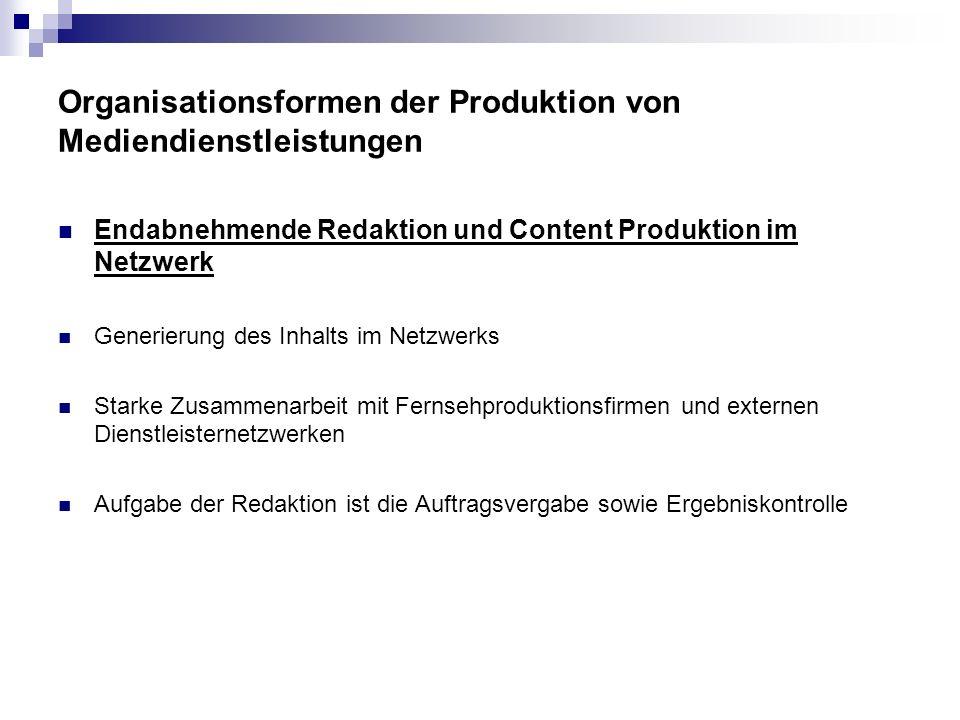 Endabnehmende Redaktion und Content Produktion im Netzwerk Generierung des Inhalts im Netzwerks Starke Zusammenarbeit mit Fernsehproduktionsfirmen und