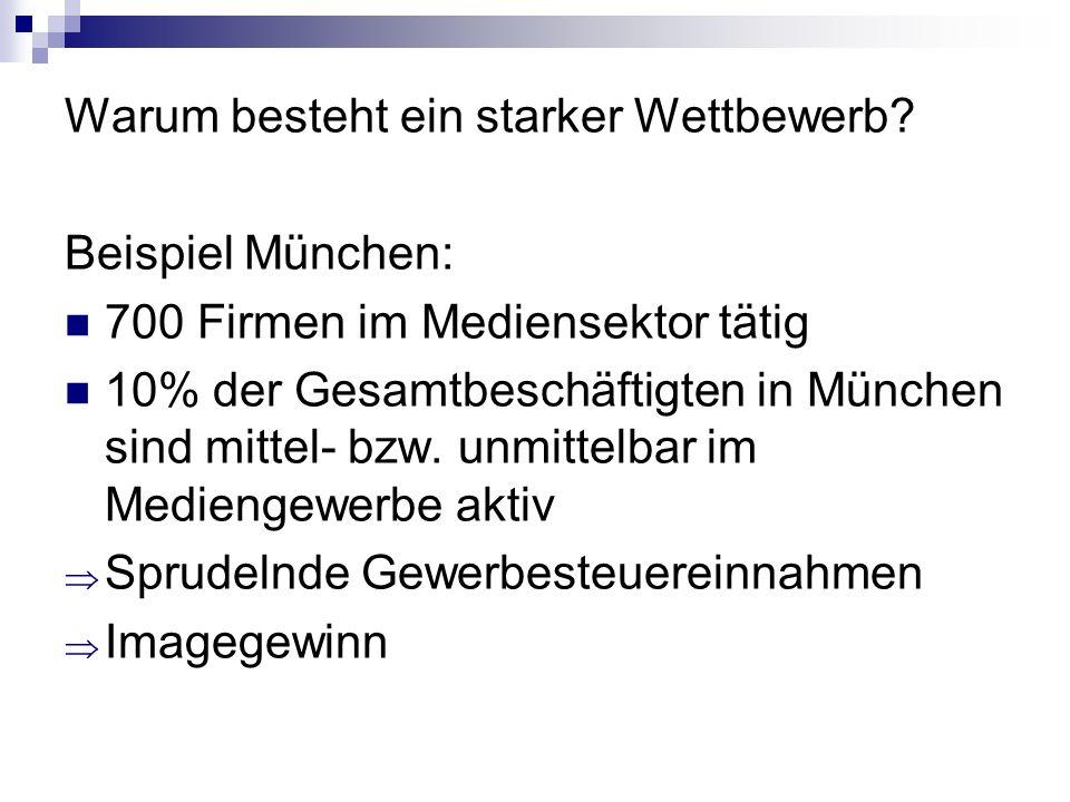 Warum besteht ein starker Wettbewerb? Beispiel München: 700 Firmen im Mediensektor tätig 10% der Gesamtbeschäftigten in München sind mittel- bzw. unmi
