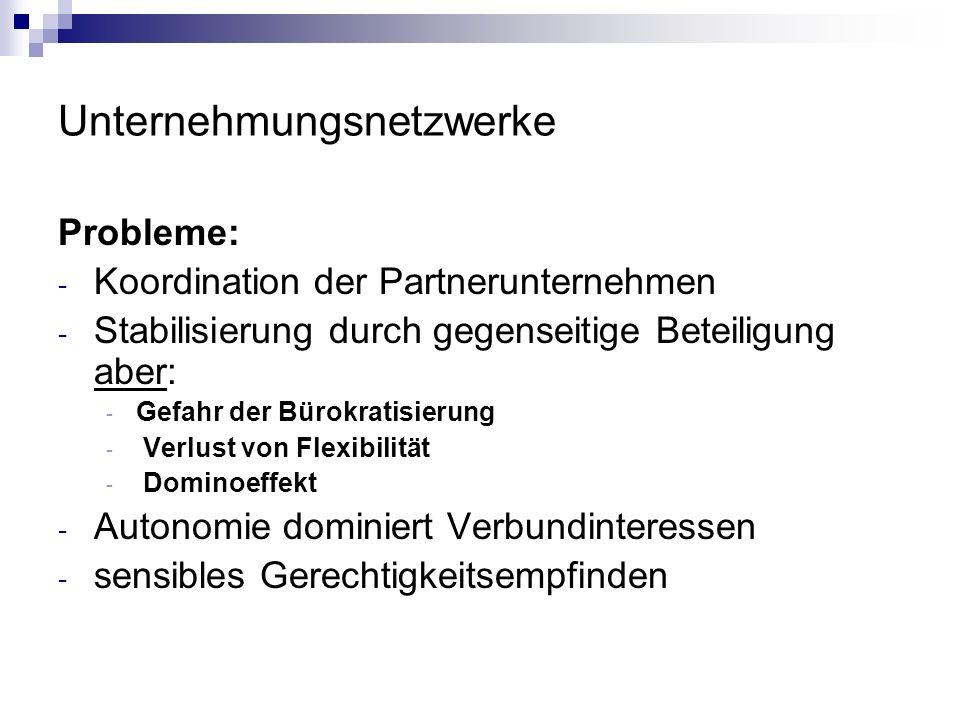 Unternehmungsnetzwerke Probleme: - Koordination der Partnerunternehmen - Stabilisierung durch gegenseitige Beteiligung aber: - Gefahr der Bürokratisie