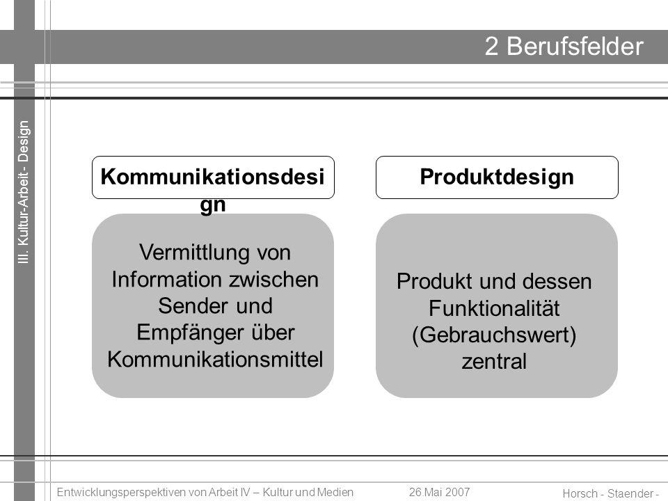 III. Kultur-Arbeit - Design Horsch - Staender - Weidinger Entwicklungsperspektiven von Arbeit IV – Kultur und Medien26.Mai 2007 2 Berufsfelder Vermitt