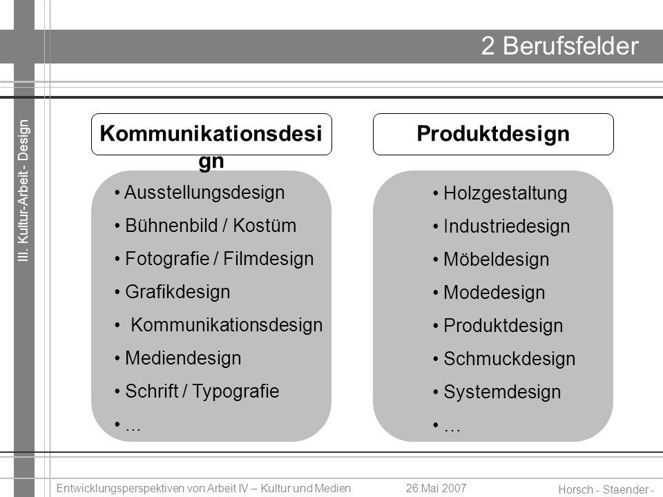 III. Kultur-Arbeit - Design Horsch - Staender - Weidinger Entwicklungsperspektiven von Arbeit IV – Kultur und Medien26.Mai 2007 2 Berufsfelder Ausstel