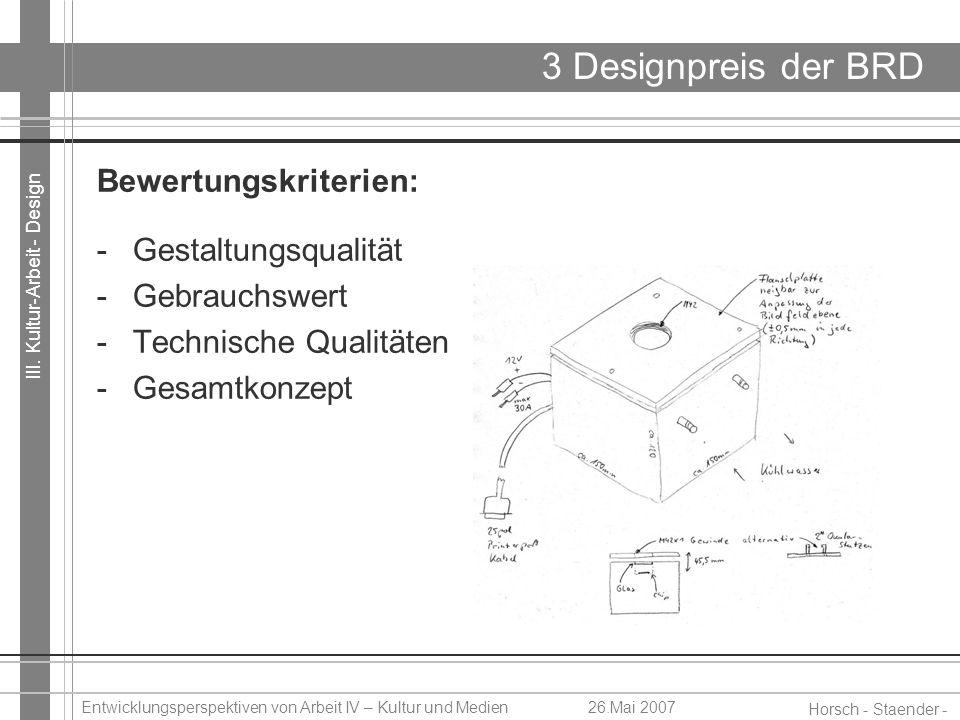 III. Kultur-Arbeit - Design Horsch - Staender - Weidinger Entwicklungsperspektiven von Arbeit IV – Kultur und Medien26.Mai 2007 3 Designpreis der BRD