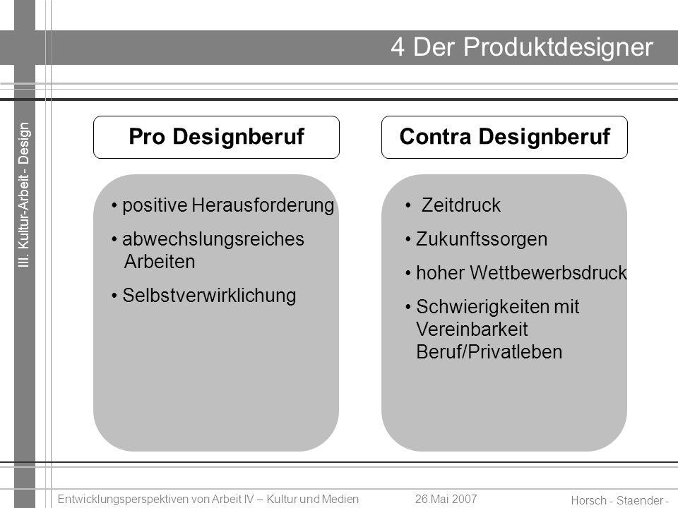 III. Kultur-Arbeit - Design Horsch - Staender - Weidinger Entwicklungsperspektiven von Arbeit IV – Kultur und Medien26.Mai 2007 4 Der Produktdesigner