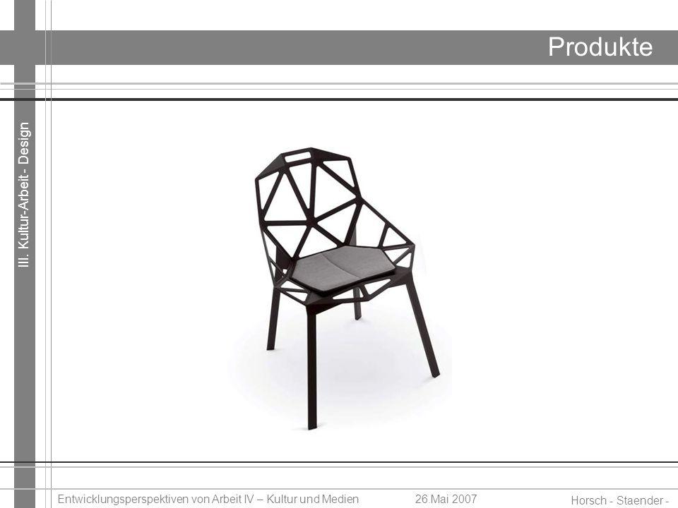 III. Kultur-Arbeit - Design Horsch - Staender - Weidinger Entwicklungsperspektiven von Arbeit IV – Kultur und Medien26.Mai 2007 Produkte