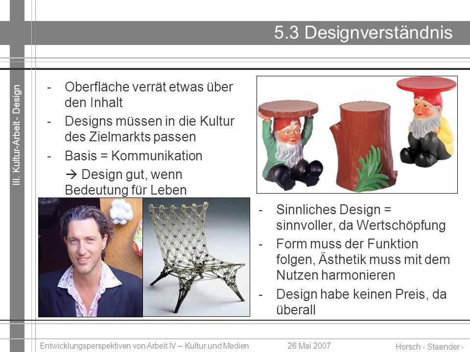 III. Kultur-Arbeit - Design Horsch - Staender - Weidinger Entwicklungsperspektiven von Arbeit IV – Kultur und Medien26.Mai 2007 5.3 Designverständnis
