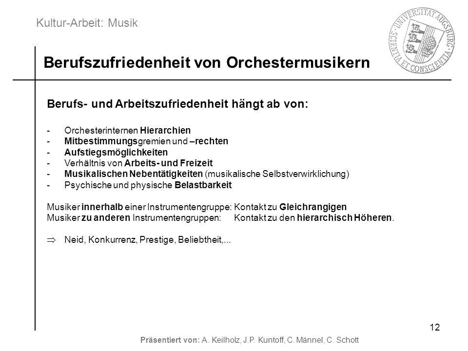Kultur-Arbeit: Musik Präsentiert von: A. Keilholz, J.P. Kuntoff, C. Männel, C. Schott 12 Berufszufriedenheit von Orchestermusikern Berufs- und Arbeits
