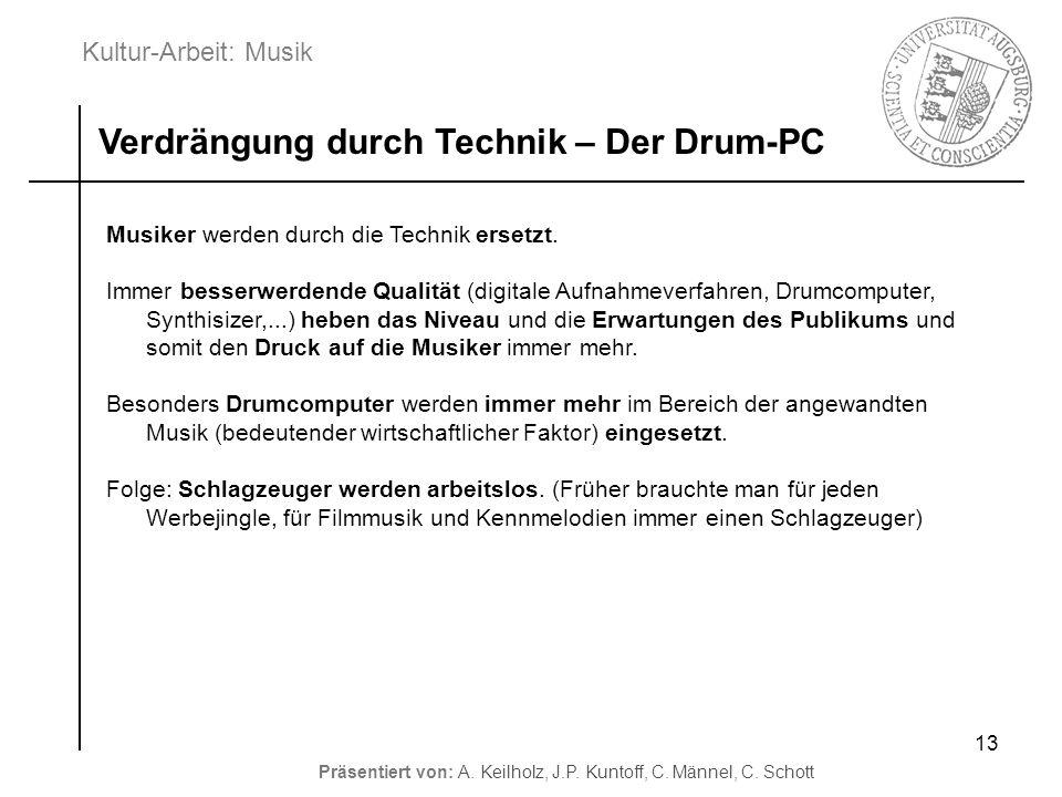 Kultur-Arbeit: Musik Präsentiert von: A. Keilholz, J.P. Kuntoff, C. Männel, C. Schott 13 Verdrängung durch Technik – Der Drum-PC Musiker werden durch
