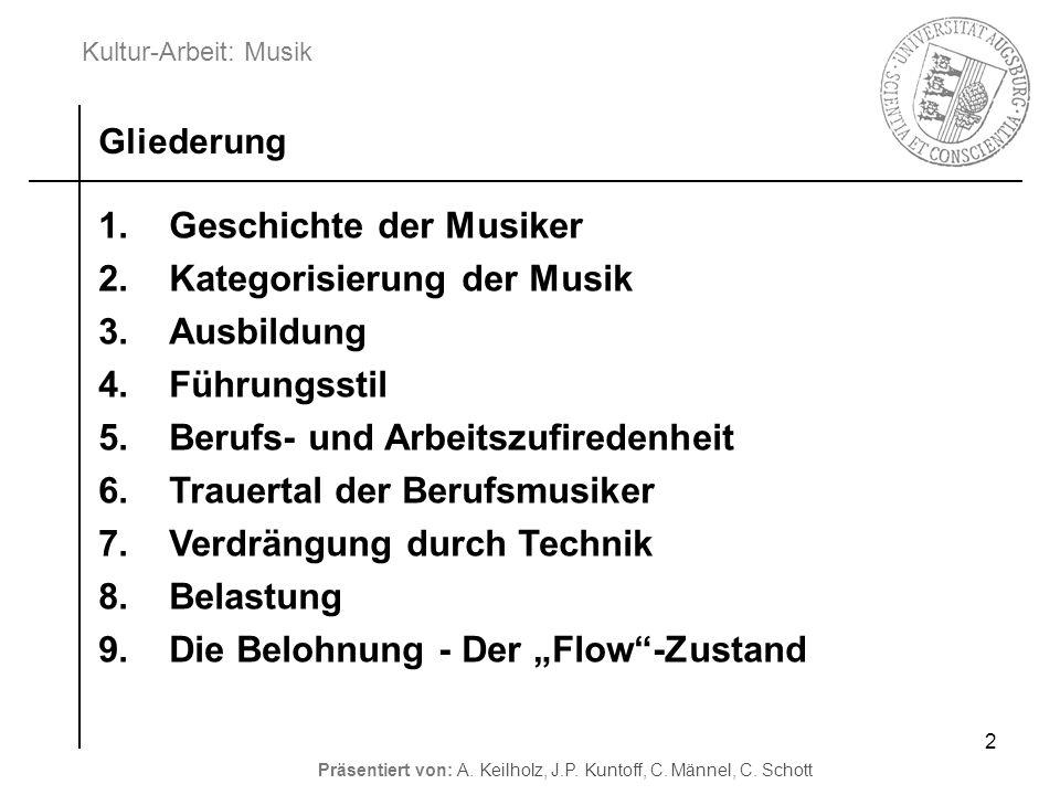 Kultur-Arbeit: Musik Präsentiert von: A. Keilholz, J.P. Kuntoff, C. Männel, C. Schott 2 1.Geschichte der Musiker 2.Kategorisierung der Musik 3.Ausbild