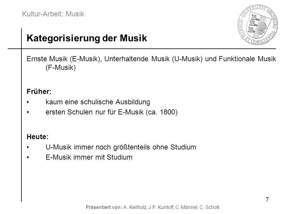 Kultur-Arbeit: Musik Präsentiert von: A. Keilholz, J.P. Kuntoff, C. Männel, C. Schott 7 Ernste Musik (E-Musik), Unterhaltende Musik (U-Musik) und Funk