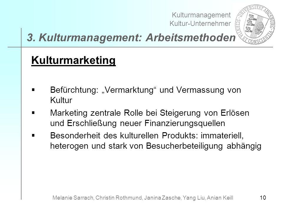 10 Kulturmarketing Befürchtung: Vermarktung und Vermassung von Kultur Marketing zentrale Rolle bei Steigerung von Erlösen und Erschließung neuer Finan
