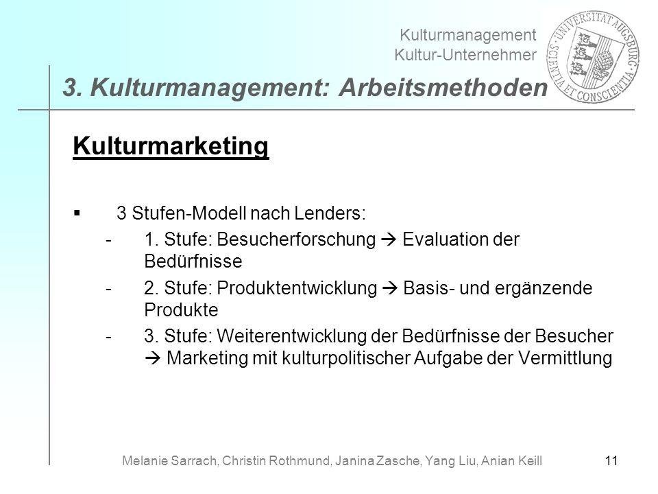 11 Kulturmarketing 3 Stufen-Modell nach Lenders: -1. Stufe: Besucherforschung Evaluation der Bedürfnisse -2. Stufe: Produktentwicklung Basis- und ergä