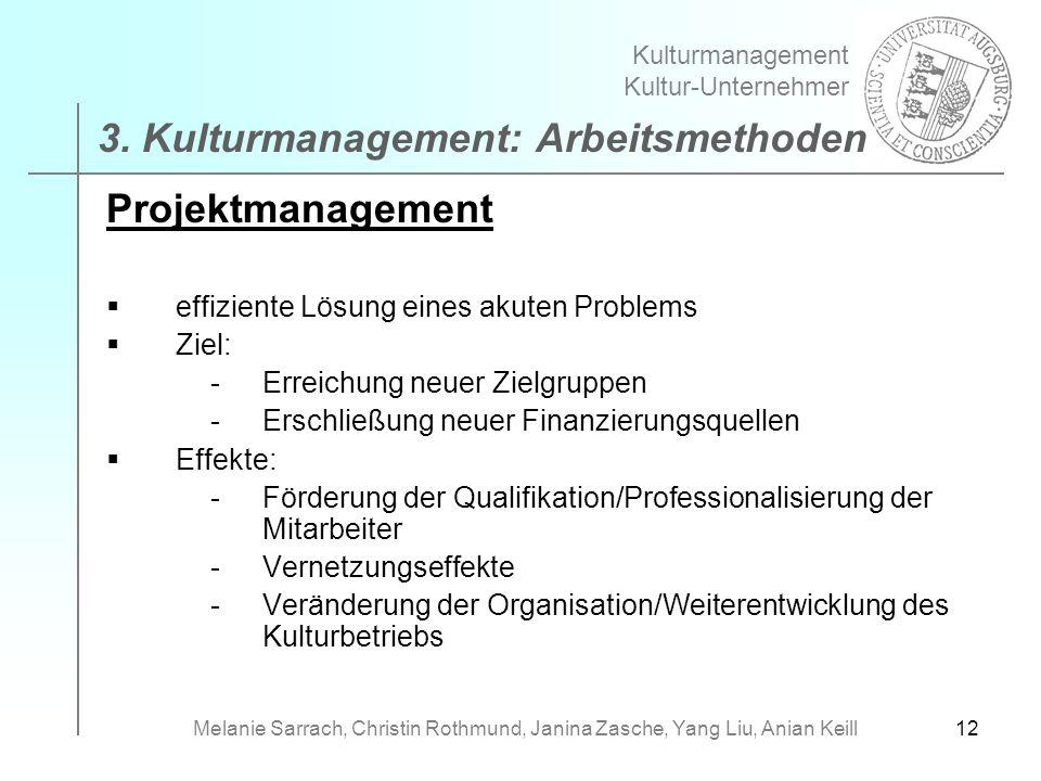 12 Projektmanagement effiziente Lösung eines akuten Problems Ziel: -Erreichung neuer Zielgruppen -Erschließung neuer Finanzierungsquellen Effekte: -Fö