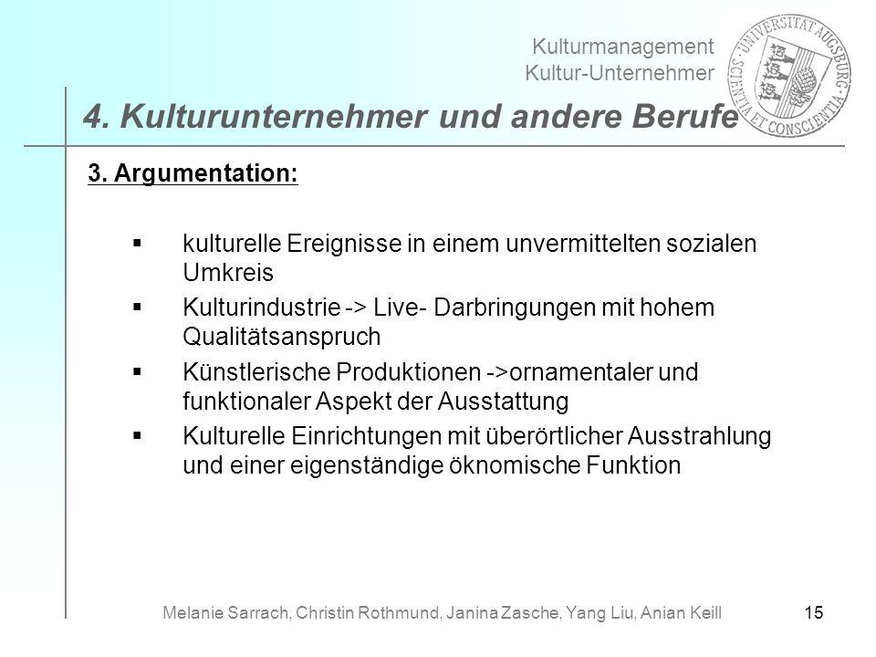 15 3. Argumentation: kulturelle Ereignisse in einem unvermittelten sozialen Umkreis Kulturindustrie -> Live- Darbringungen mit hohem Qualitätsanspruch