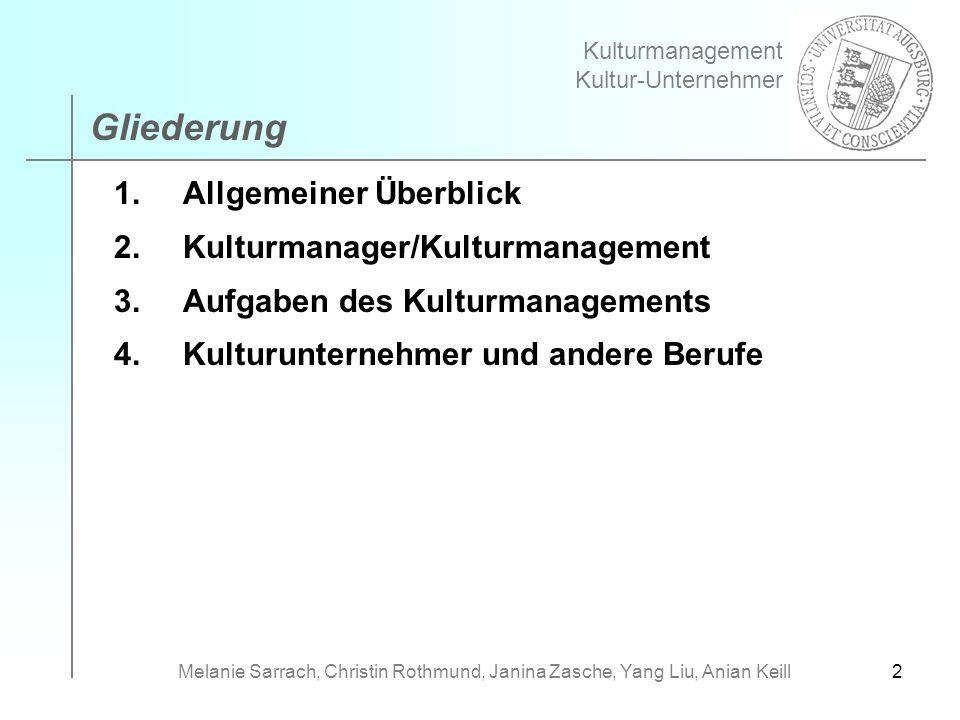 2 1.Allgemeiner Überblick 2.Kulturmanager/Kulturmanagement 3.Aufgaben des Kulturmanagements 4.Kulturunternehmer und andere Berufe Kulturmanagement Kul