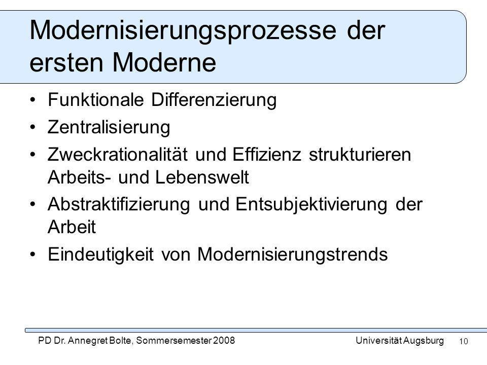 Universität AugsburgPD Dr. Annegret Bolte, Sommersemester 2008 10 Modernisierungsprozesse der ersten Moderne Funktionale Differenzierung Zentralisieru
