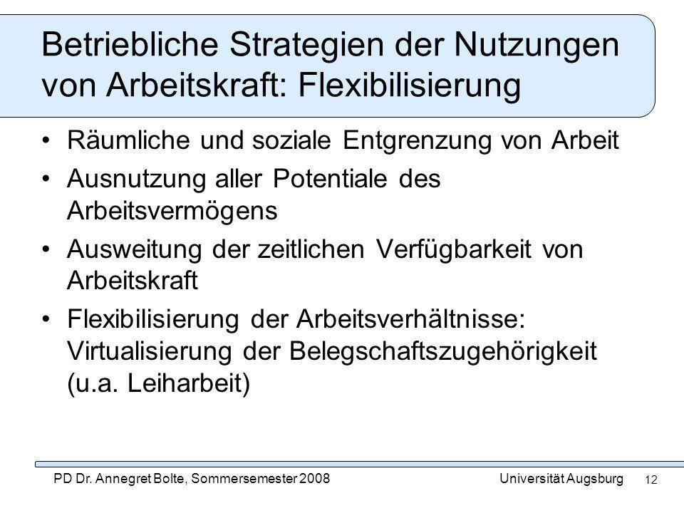 Universität AugsburgPD Dr. Annegret Bolte, Sommersemester 2008 12 Betriebliche Strategien der Nutzungen von Arbeitskraft: Flexibilisierung Räumliche u