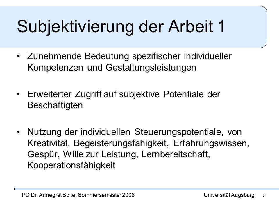 Universität AugsburgPD Dr. Annegret Bolte, Sommersemester 2008 3 Subjektivierung der Arbeit 1 Zunehmende Bedeutung spezifischer individueller Kompeten