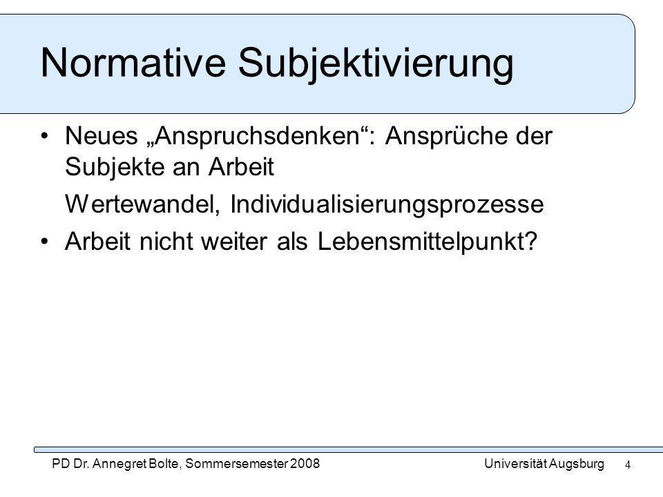 Universität AugsburgPD Dr. Annegret Bolte, Sommersemester 2008 4 Normative Subjektivierung Neues Anspruchsdenken: Ansprüche der Subjekte an Arbeit Wer