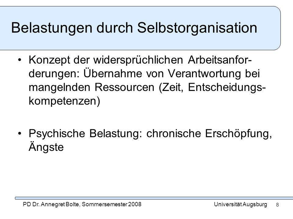 Universität AugsburgPD Dr. Annegret Bolte, Sommersemester 2008 8 Belastungen durch Selbstorganisation Konzept der widersprüchlichen Arbeitsanfor- deru