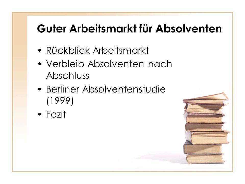 Guter Arbeitsmarkt für Absolventen Rückblick Arbeitsmarkt Verbleib Absolventen nach Abschluss Berliner Absolventenstudie (1999) Fazit