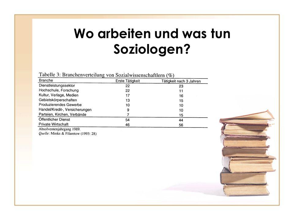 Wo arbeiten und was tun Soziologen?