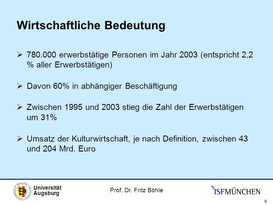 Prof. Dr. Fritz Böhle Universität Augsburg 4 Wirtschaftliche Bedeutung 780.000 erwerbstätige Personen im Jahr 2003 (entspricht 2,2 % aller Erwerbstäti