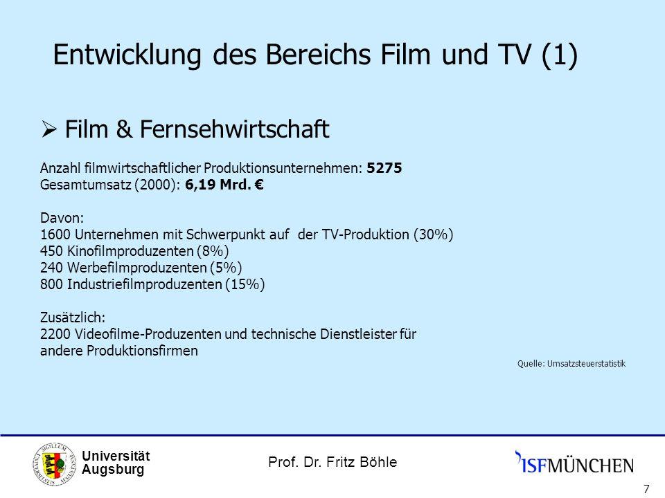 Prof. Dr. Fritz Böhle Universität Augsburg 7 Entwicklung des Bereichs Film und TV (1) Film & Fernsehwirtschaft Anzahl filmwirtschaftlicher Produktions