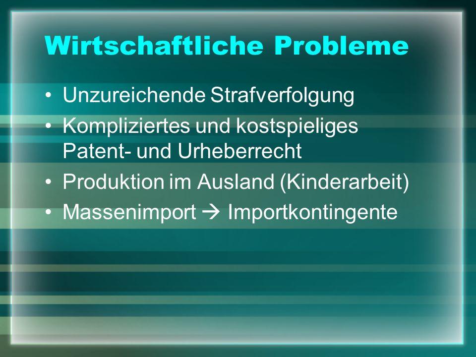 Wirtschaftliche Probleme Unzureichende Strafverfolgung Kompliziertes und kostspieliges Patent- und Urheberrecht Produktion im Ausland (Kinderarbeit) M