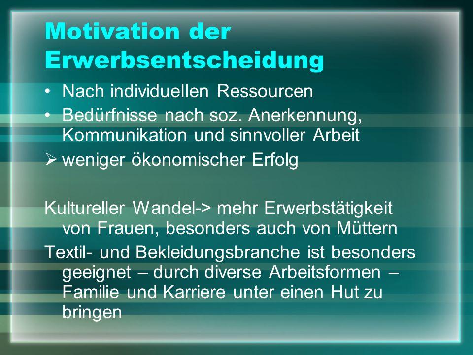 Motivation der Erwerbsentscheidung Nach individuellen Ressourcen Bedürfnisse nach soz. Anerkennung, Kommunikation und sinnvoller Arbeit weniger ökonom