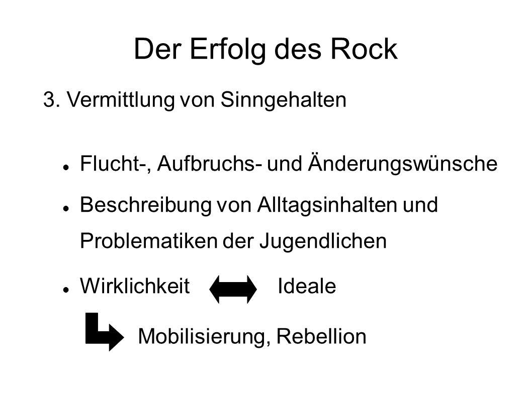 Der Erfolg des Rock Flucht-, Aufbruchs- und Änderungswünsche Beschreibung von Alltagsinhalten und Problematiken der Jugendlichen Wirklichkeit Ideale 3