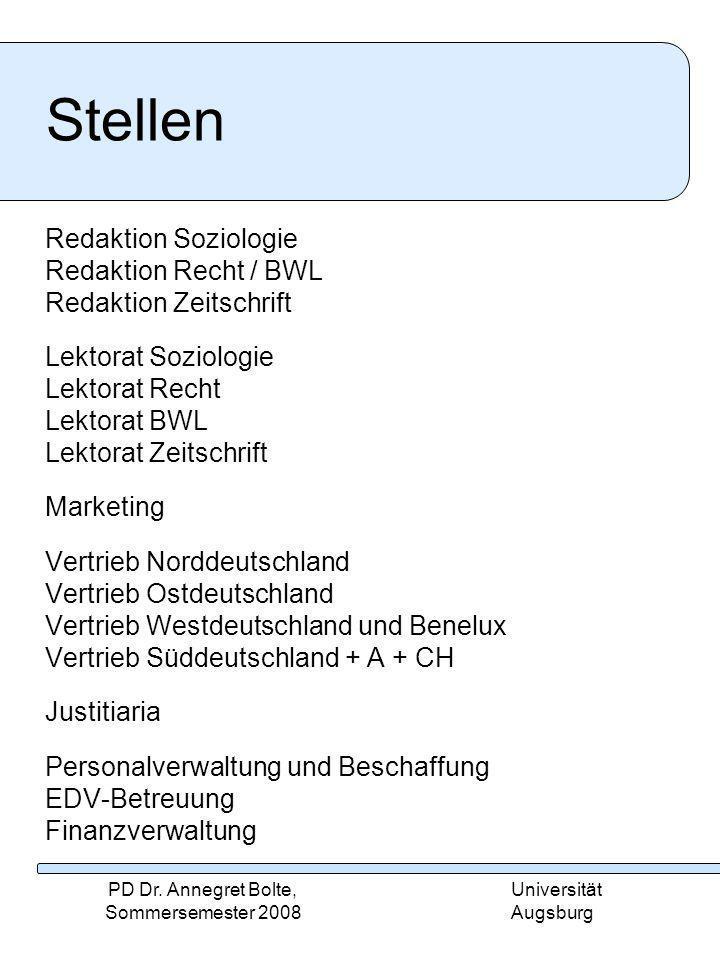 Universität Augsburg PD Dr.