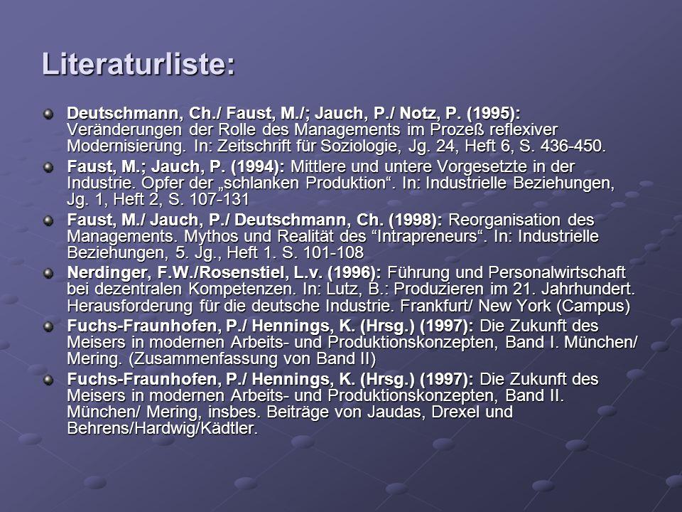 Literaturliste: Deutschmann, Ch./ Faust, M./; Jauch, P./ Notz, P. (1995): Veränderungen der Rolle des Managements im Prozeß reflexiver Modernisierung.