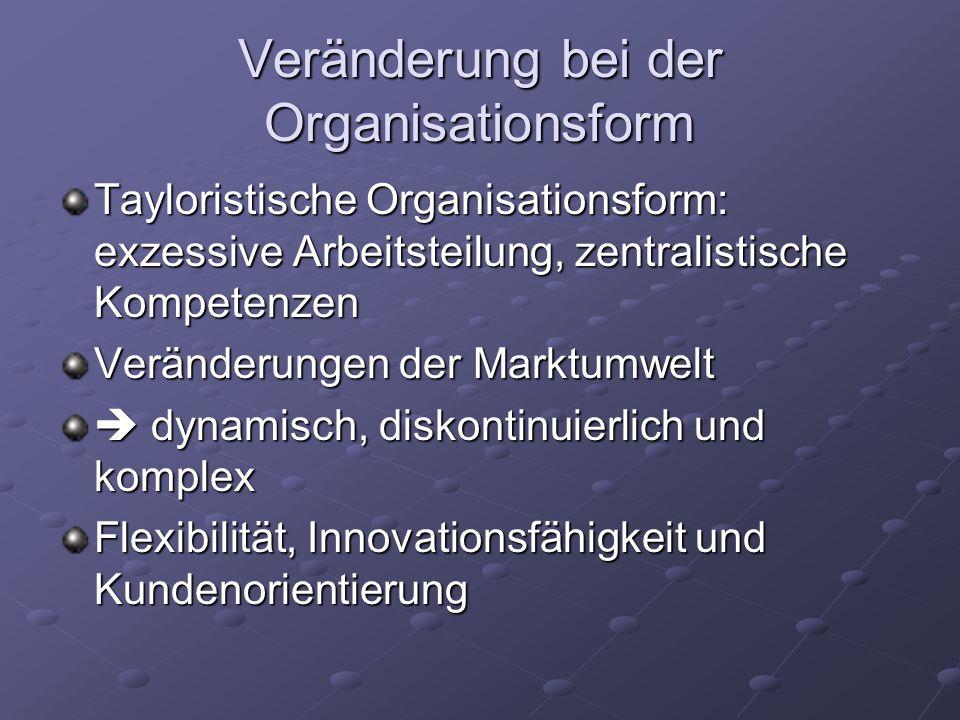 Veränderung bei der Organisationsform Tayloristische Organisationsform: exzessive Arbeitsteilung, zentralistische Kompetenzen Veränderungen der Marktumwelt dynamisch, diskontinuierlich und komplex dynamisch, diskontinuierlich und komplex Flexibilität, Innovationsfähigkeit und Kundenorientierung