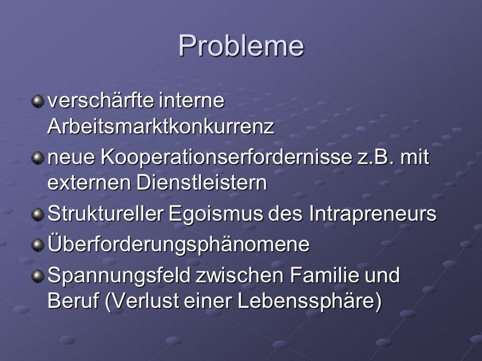 Probleme verschärfte interne Arbeitsmarktkonkurrenz neue Kooperationserfordernisse z.B.