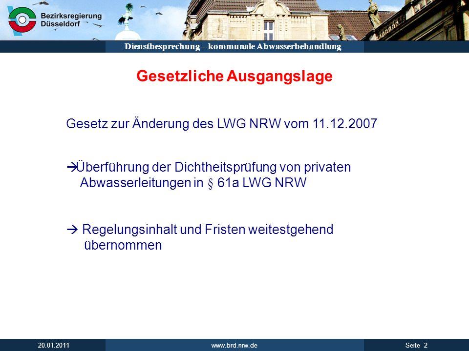 www.brd.nrw.de 2Seite 20.01.2011 Dienstbesprechung – kommunale Abwasserbehandlung Gesetzliche Ausgangslage Gesetz zur Änderung des LWG NRW vom 11.12.2